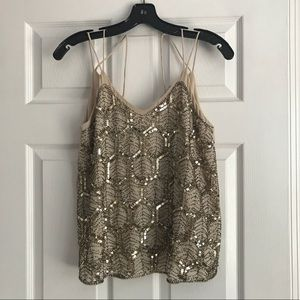 NWT Embellished Beige Strappy Tank Top